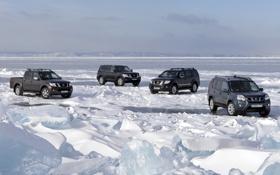 Обои небо, снег, озеро, лёд, Байкал, джип, Ниссан
