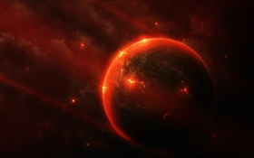 Картинка Red, Метеориты, Красная Планета, Удары, Bleeding mind, Гибель