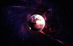 Обои звезды, сияние, планета, спутник, stars, planet