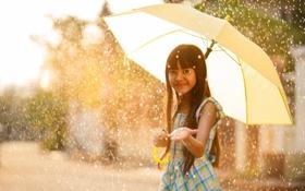 Обои дождь, настроение, зонт, девочка