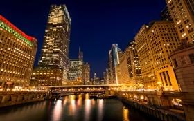 Картинка ночь, мост, город, огни, река, здания, небоскребы