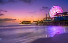 Картинка пляж, закат, огни, океан, пирс, атракционы