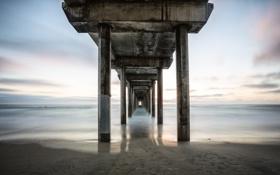 Картинка песок, море, небо, вода, мост, берег, опоры