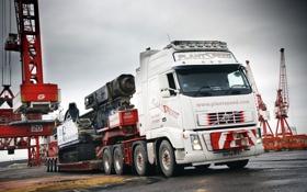 Обои Volvo, Грузовик, Кран, Великобритания, FH16, Nooteboom