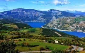 Картинка леса, река, Saint-Vincent-les-Forts, озеро, панорама, Франция, горы