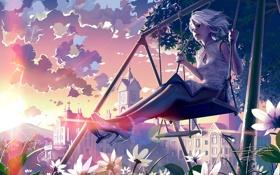 Обои девушка, солнце, облака, цветы, город, качели, дерево