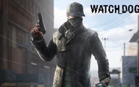 Обои black, пистолет, повязка, watch dogs
