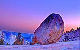 Обои закат, пейзаж, небо, Yosemite, камень, валун, деревья