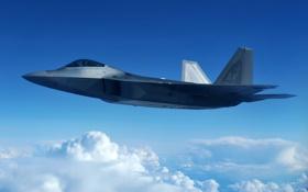 Картинка облака, полет, истребитель, малозаметный, многоцелевой, F-22 Raptor