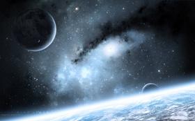 Картинка космос, планеты, арт, space, спутники, art, stars