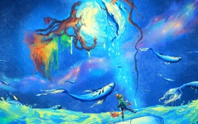 Картинка море, корни, фантазия, человек, планета, арт, uchuubranko