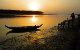 Картинка девушка, закат, река, лодка, вечер