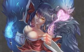 Обои магия, арт, уши, сердечко, league of legends, хвосты, ahri