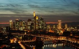 Картинка мост, отражение, Германия, зеркало, горизонт, подсветка, ночью