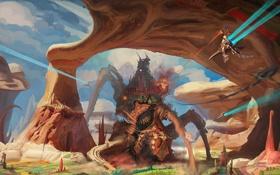 Картинка скалы, монстр, арт, Hunting the Alkazir