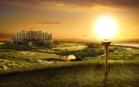 Обои трава, особняк, солнце, гольф, здание, озера, поля