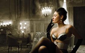 Картинка девушка, лампы, мебель, интерьер, кресло, вечер, чулки