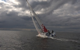Картинка море, небо, облака, яхта