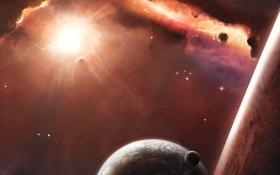 Обои космос, звезды, сияние, планеты, атмосфера