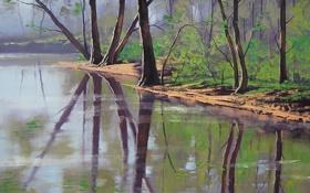 Обои лес, река, рисунок, арт, artsaus, riverside trees