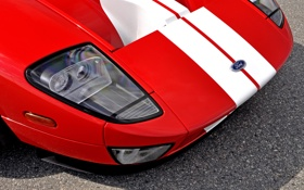 Картинка красный, фары, капот, Ford GT, спорткар, форд