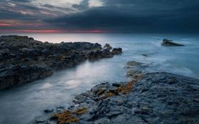 Картинка море, небо, тучи, камни, скалы