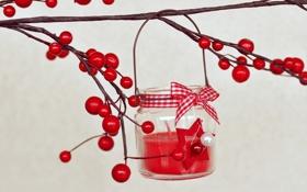 Картинка ягоды, свеча, ветка, красные, бант, остролист, падуб