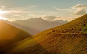 Картинка свет, пейзаж, горы, природа, утро