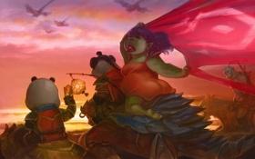 Обои черепаха, орк, wow, world of warcraft, orc, пандарен, pandaren