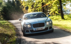 Картинка Авто, Bentley, Continental, Дорога, Синий, Машина, Лого