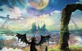 Картинка небо, звезды, пейзаж, оружие, замок, луна, дракон