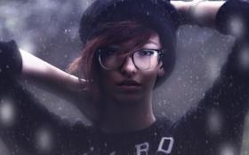 Картинка девушка, снег, шапка, очки, girl, photo, photographer