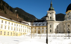 Обои зима, лес, солнце, снег, пейзаж, горы, Германия