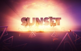 Картинка линии, гитара, sunset, рендер, digital art, lacza