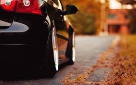 Картинка осень, трава, листья, Дорога, Volkswagen, City, Фары