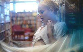Обои девушка, книги, размытие, библиотека