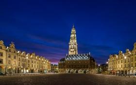 Обои небо, ночь, город, огни, Франция, освещение, подсветка