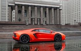 Обои Lamborghini, Улица, Оранжевый, Здание, Ламборгини, LP700-4, Aventador