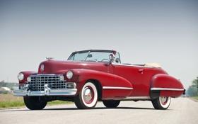 Картинка небо, красный, Cadillac, кабриолет, передок, 1942, Convertible