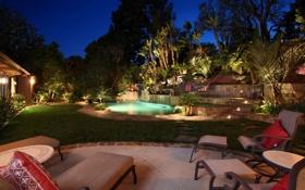 Картинка дизайн, огни, дом, пальмы, отдых, ландшафт, бассейн