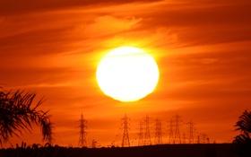 Картинка солнце, пейзаж, закат, силуэты