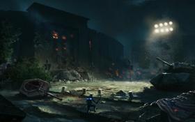 Картинка снег, ночь, огни, пожар, человек, разрушение, танки
