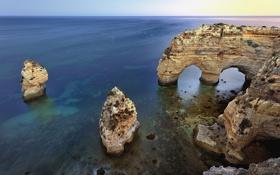 Обои Albandeira Beach, арка, Portugal, Algarve, Португалия, море, скала