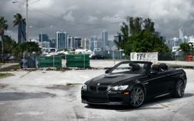Картинка черный, бмв, BMW, кабриолет, передок, Series, vossen