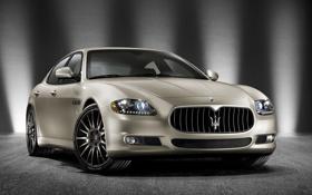 Обои quattroporte, эмблема, фары, Maserati