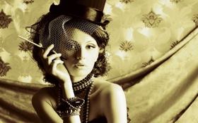 Картинка взгляд, украшения, ретро, фото, шляпка, вуаль, привлекательная