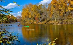 Обои осень, лес, небо, облака, деревья, река, лодка