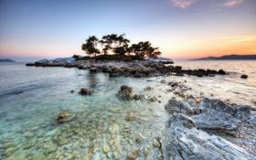 Обои деревья, остров, озеро, камни