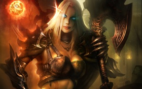 Картинка эльфийка, череп, девушка, World of Warcraft, WoW, доспехи, магия