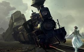 Обои катастрофа, крушение, железная дорога, арт, крылья, девушка, поезд